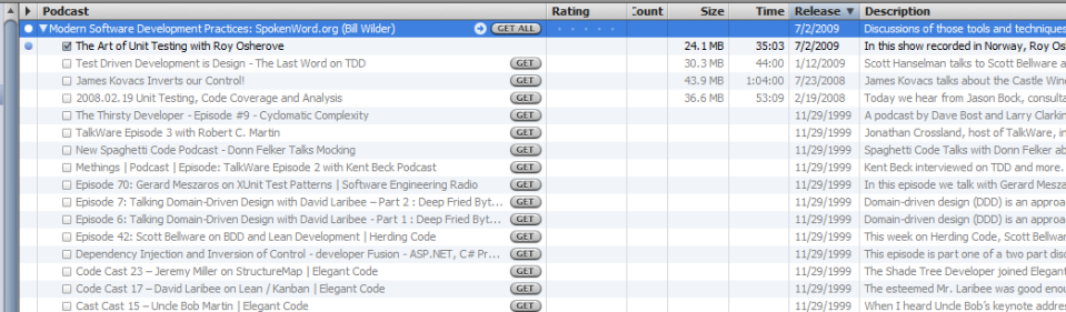 A feed with many existing episodes treated passively by iTunes