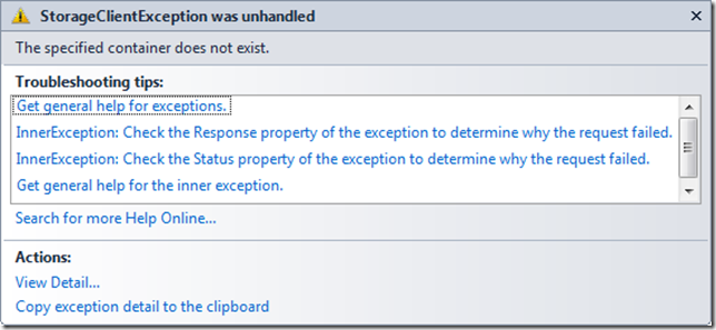 StorageClientException was unhandled - The specified container does not exist