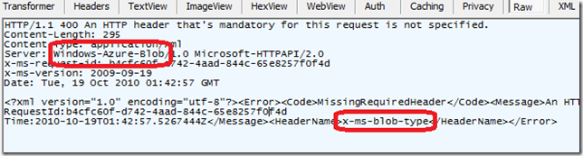 "Circled ""Server: Windows-Azure-Blob/1.0 Microsoft-HTTPAPI/2.0"" and ""<HeaderName>x-ms-blob-type</HeaderName>"""