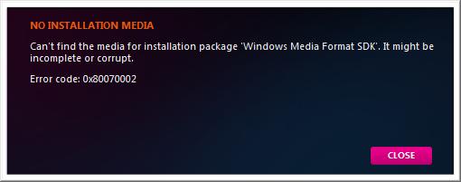 "Cure for ""NO INSTALLATION MEDIA"" Error when Zune Installer"