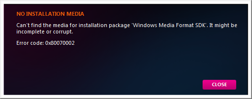 "Cure for ""NO INSTALLATION MEDIA"" Error when Zune Installer Can't"