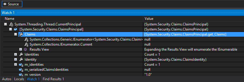 Examine User Identity and Claims from Visual Studio Debugger