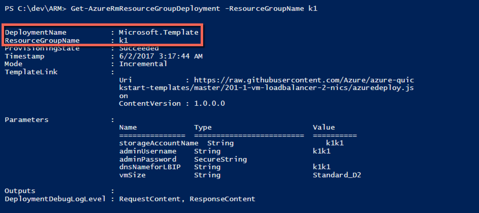 Get-AzureRmResourceGroupDeployment